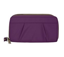 Travelon RFID Wallets travelon signature pleated double zip clutch wallet
